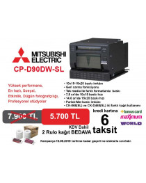 Mitsubishi CP-D90DW-SL Fotoğraf Baskı Cihazı + 2 Rolu Kağıt 6 Taksit