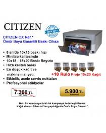 Citizen CX Ref.(Yenilenmiş) Fotoğraf Baskı Cihazı+10 Rulo 6x8 Proje Kağıt